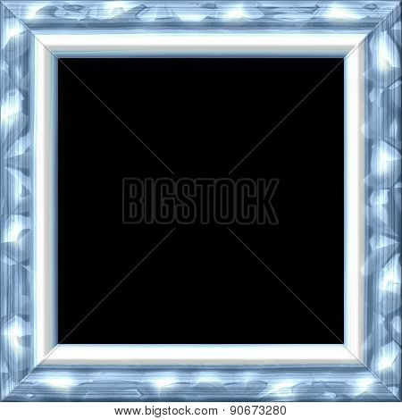 Vintage Silver Metal Or Wooden Frame With Blue Tint