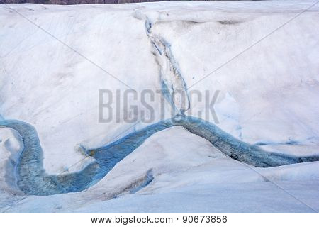 Meltwater Stream On The Surface Of A Glacier