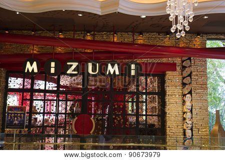 An exterior view of Mizumi restaurant at the Wynn hotel in Las Vegas.
