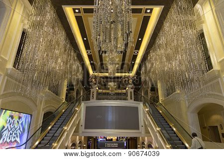 An interior shot of one of the entrances to the Palazzo hotel in Las Vegas.