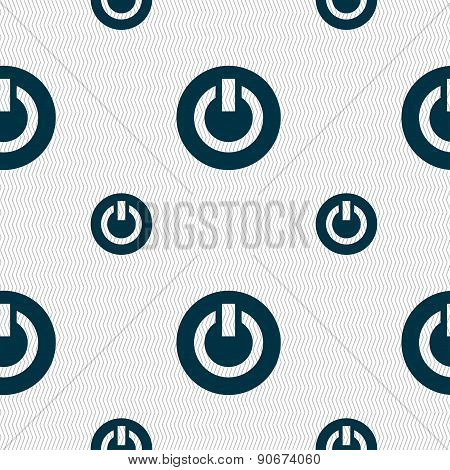 Power,  Switch On, Turn On  Icon Sign. Seamless Pattern With Geometric Texture. Vector