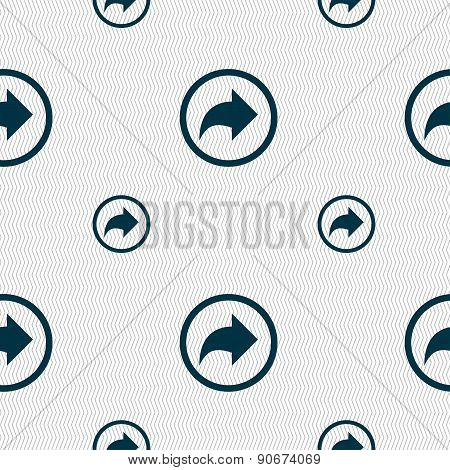 Arrow Right, Next Icon Sign. Seamless Pattern With Geometric Texture. Vector