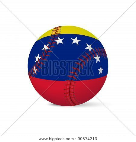Baseball with flag of Venezuela, isolated on white