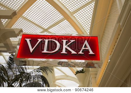 The VDKA sign inside of the Encore hotel in Las Vegas.