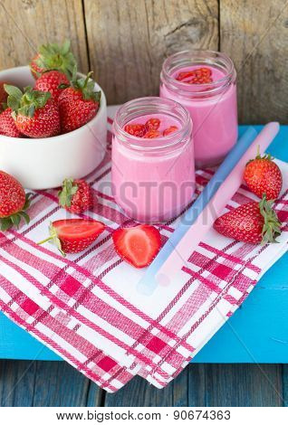 Smoothies with yogurt and strawberries. Fruit cocktail. Diet drink