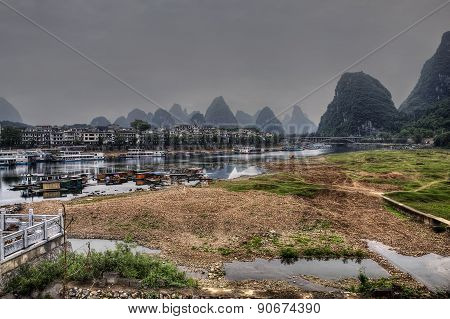 River Ships Pier On Lijiang River, Yangshuo, Guangxi Province, China