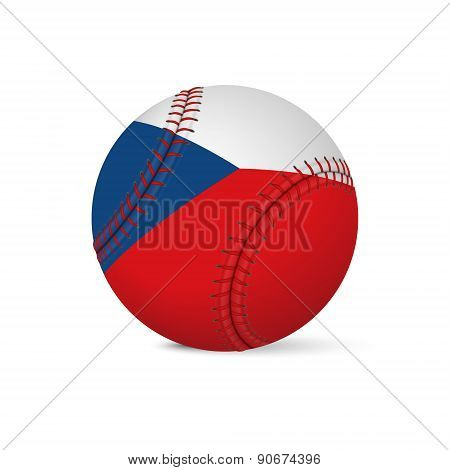 Baseball with flag of Czech Republic, isolated on white