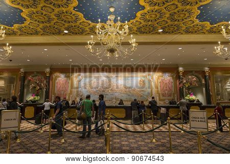 The registration - check in area of the Venetian hotel in Las Vegas.