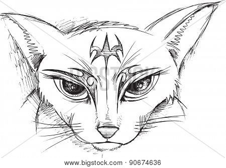 Doodle Cat Sketch Face Vector Illustration Art