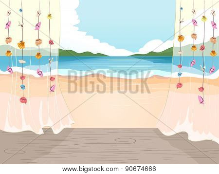 Illustration of the Beach Viewed from a Cottage