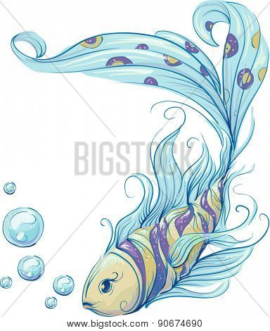Colorful Illustration of a Fish Swimming Gracefully