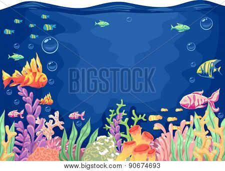 Colorful Illustration of a Typical Underwater Scene