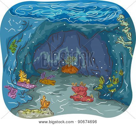 Colorful Illustration of an Underwater Cave Filled with Seaweeds and Corals