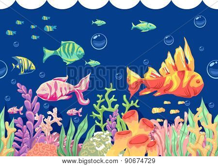 Colorful Illustration of Fishes Swimming Around Corals and Seaweeds