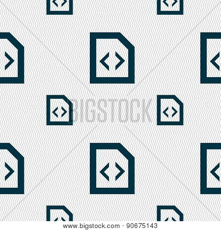 Programming Code Icon Sign. Seamless Pattern With Geometric Texture. Vector