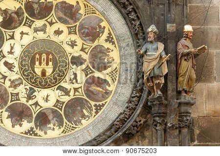 Closeup of Prague astronomical clock (orloj)