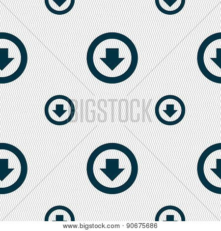 Arrow Down, Download, Load, Backup Icon Sign. Seamless Pattern With Geometric Texture. Vector