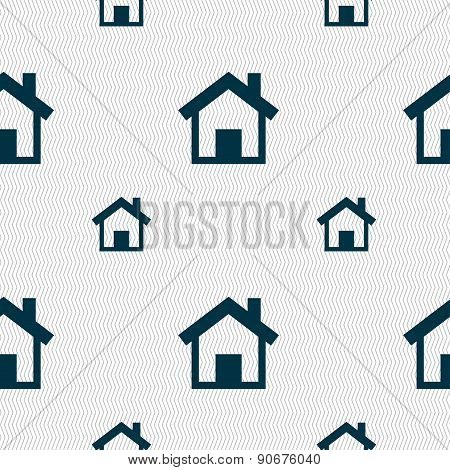 Home, Main Page Icon Sign. Seamless Pattern With Geometric Texture. Vector
