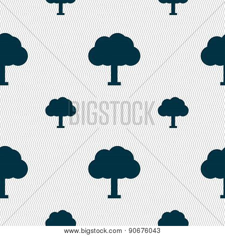 Tree, Forest Icon Sign. Seamless Pattern With Geometric Texture. Vector