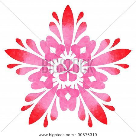Watercolour pattern - Red-rose abstract flower