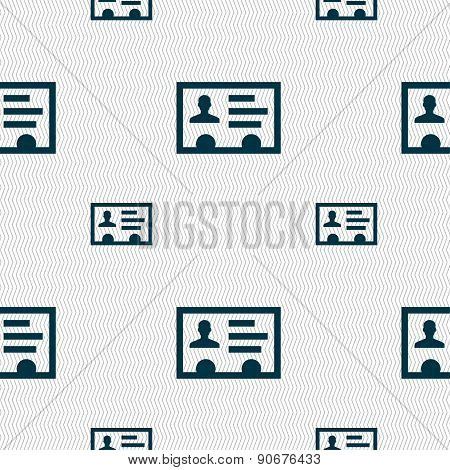 Id Card, Identity Card Badge, Cutaway, Business Card Icon Sign. Seamless Pattern With Geometric Text