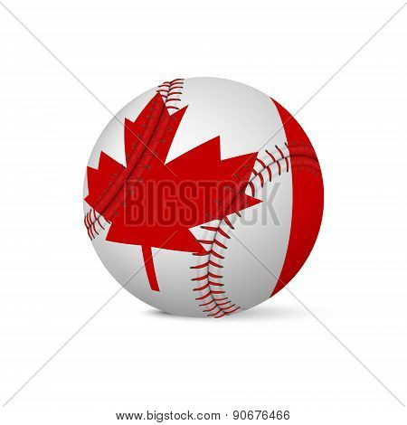 Baseball with flag of Canada, isolated on white