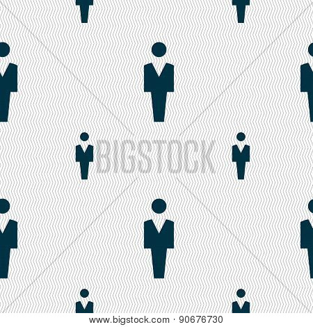 Human, Man Person, Male Toilet Icon Sign. Seamless Pattern With Geometric Texture. Vector