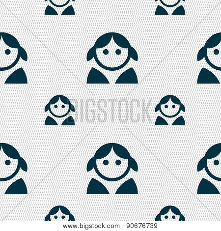 Female, Woman Human, Women Toilet, User, Login Icon Sign. Seamless Pattern With Geometric Texture. V