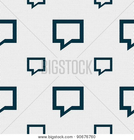 Speech Bubble, Think Cloud Icon Sign. Seamless Pattern With Geometric Texture. Vector