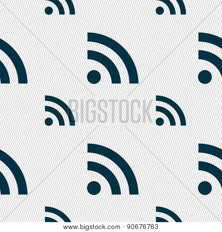 Rss Feed Icon Sign. Seamless Pattern With Geometric Texture. Vector