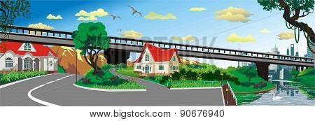 Panoramic Landscape - The Bridge To The City [