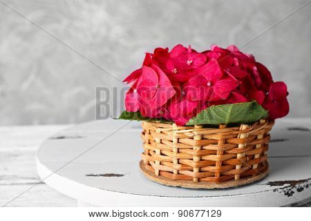 Pink hydrangea in wicket basket on wooden stand on light wallpaper background