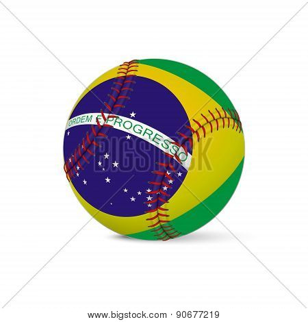 Baseball with flag of Brazil, isolated on white