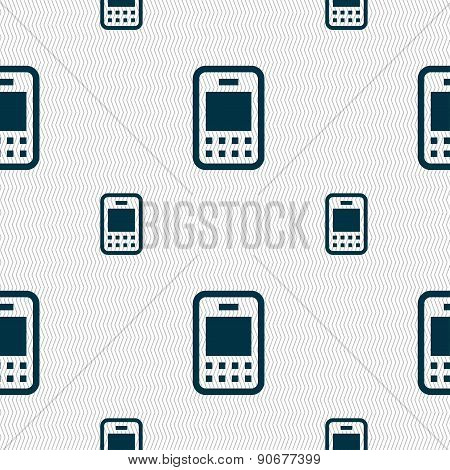 Mobile Telecommunications Technology Icon Sign. Seamless Pattern With Geometric Texture. Vector