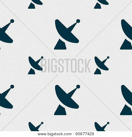 Satellite Dish Icon Sign. Seamless Pattern With Geometric Texture. Vector