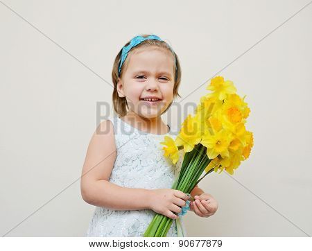 Happy Girl With Flowers