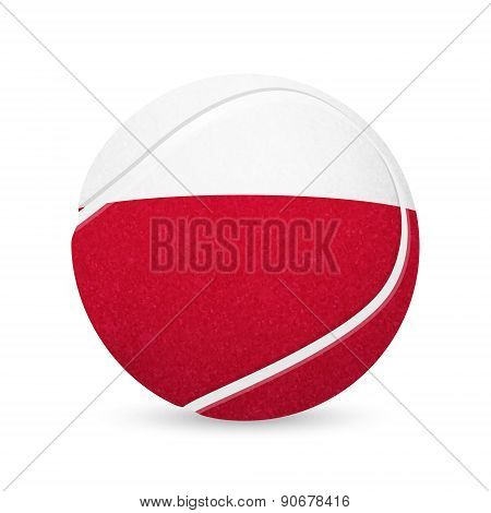 Tennis ball with flag of Poland, isolated on white