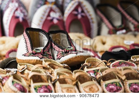 Handmade Shoes Made Of Leather Decorated With The Traditional Way A Very Well Known In The Area Of Z