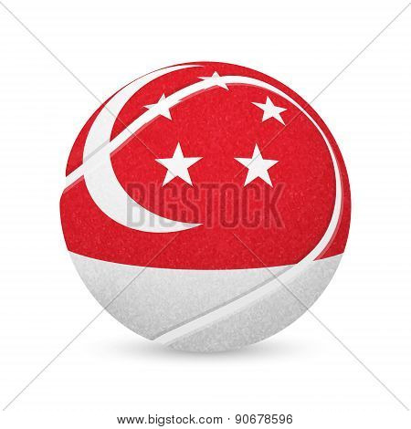 Tennis ball with flag of Singapore, isolated on white