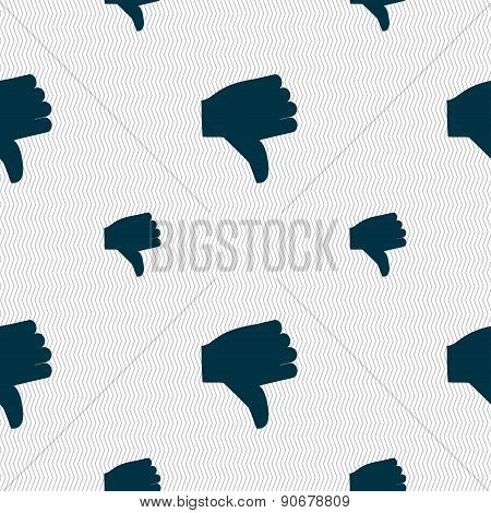 Dislike, Thumb Down Icon Sign. Seamless Pattern With Geometric Texture. Vector