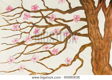 Tree With Pink Flowers, Painting