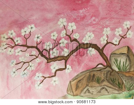 Little Cherry Tree With White Flowers, Painting