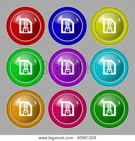 Archive File, Download Compressed, Zip Zipped Icon Sign. Symbol On Nine Round Colourful Buttons. Vec