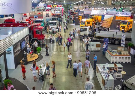 MOSCOW, RUSSIA - JUN 06, 2014: big auto trade show commercial vehicle manufacturers of famous brands on International Specialized Exhibition of Construction Equipment and Technologies