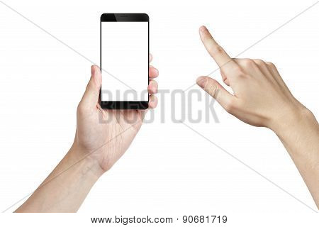 young man hand holding smarphone with white screen, isolated