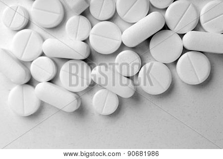 Many pills close up