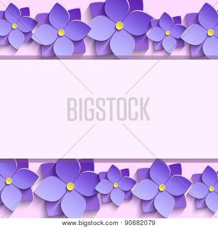 Festive Frame With Summer 3D Flowers Violets
