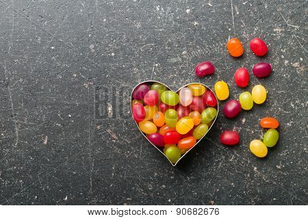the heart made from jelly beans