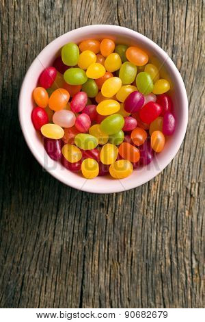 top view of jelly beans in bowl