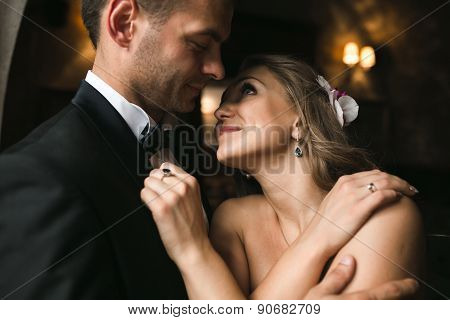 The Bride And Groom In A Cozy House